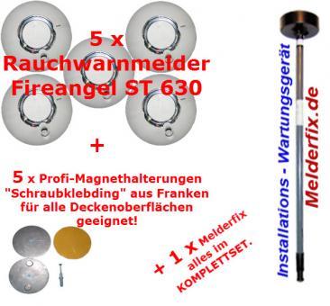 5er Rauchwarnmelder 10 Jahre Batterie-Laufzeit - Komplettset Fireangel ST 630 mit Installationshilfe und Magnetbefestigungen